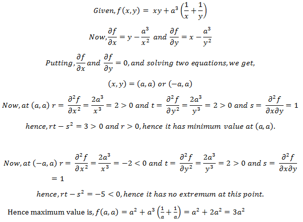 Maxima & Minima of Two Variables Questions and Answers