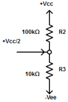 Find the voltage divider at  inverting input from the given diagram