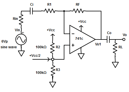 Find the output waveform at the point VO1 from the given circuit