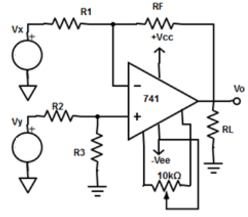 DC differential amplifier with offset null circuitry when a DC voltage is applied to inputs