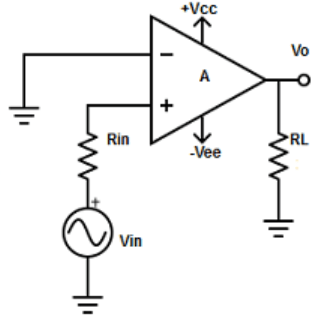 Find the input applied to Non-inverting terminal from the given diagram