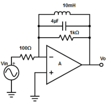 Find the peaking amplifier circuit from the given diagram