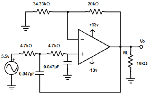 Find the second order low pass butterworth filter from the given diagram