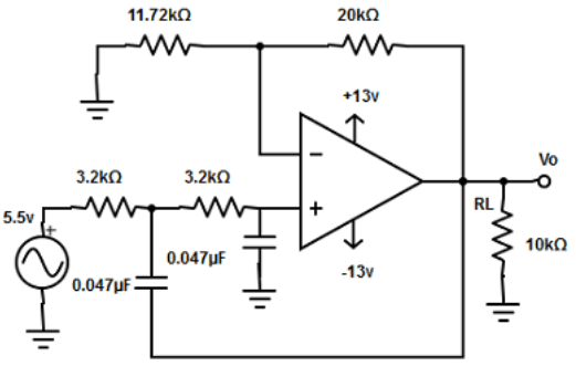 Find thehigh cut-off frequency of 2.2kHz from the given diagram