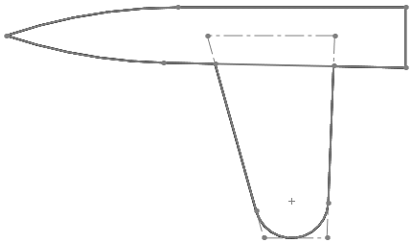 Diagram representating rounded wingtip allowing air to flow easily around the tip