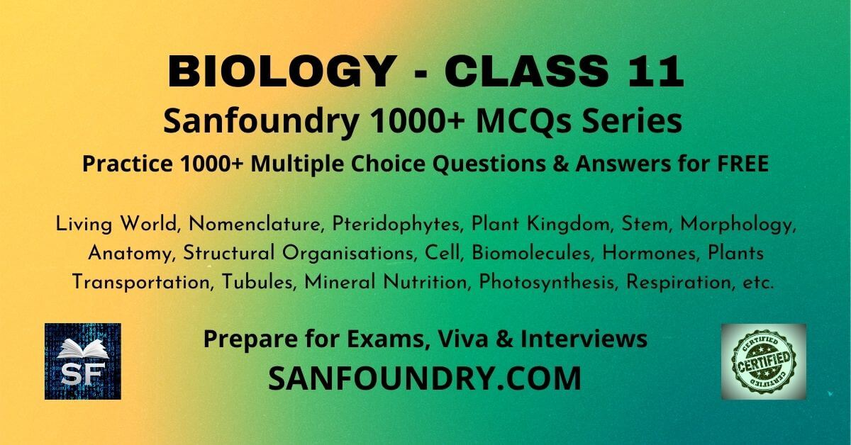 Biology Class 11 Multiple Choice Questions and Answers MCQs