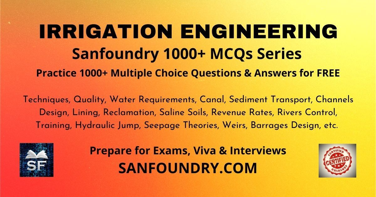 Irrigation Engineering Multiple Choice Questions and Answers MCQs