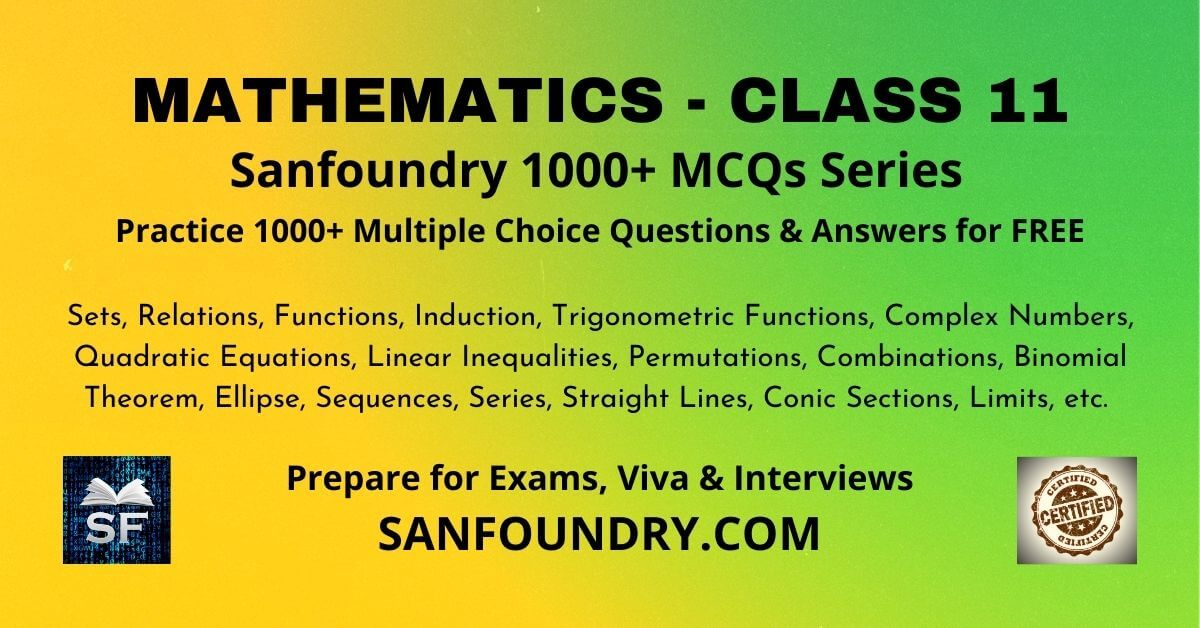 Mathematics Class 11 Multiple Choice Questions and Answers MCQs