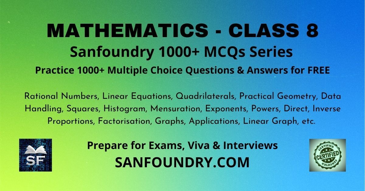 Mathematics Class 8 Multiple Choice Questions and Answers MCQs