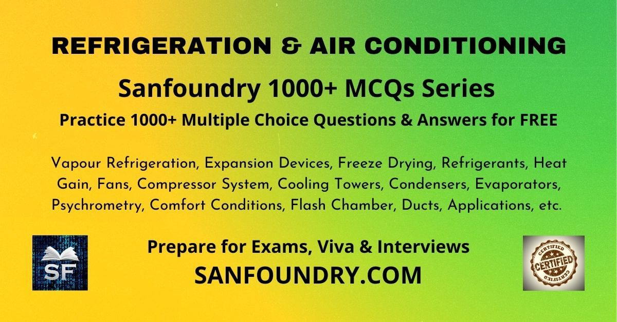 Refrigeration & Air Conditioning Multiple Choice Questions and Answers MCQs