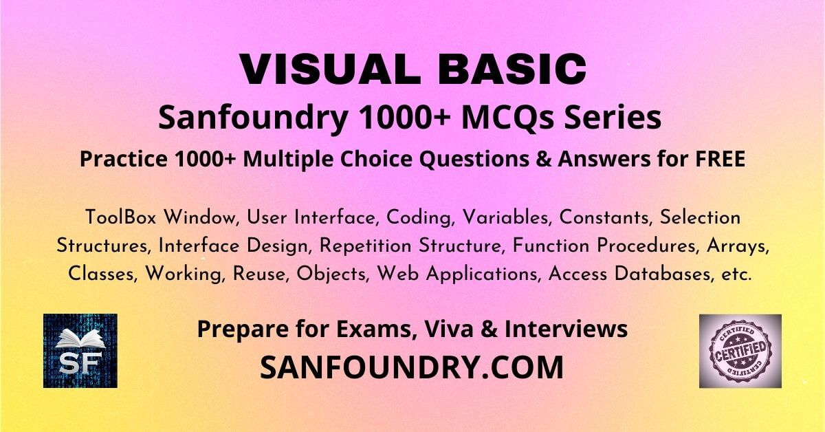 Visual Basic Multiple Choice Questions and Answers MCQs